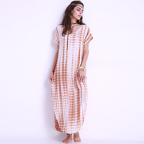 Maxi Long Dress 5XL Loose Shift Dress Short Sleeve Vestidos Sexy V Neck Plus Size Casual Beach Party Robe Side Split Gown - Oskalisti