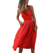Load image into Gallery viewer, Backless Criss Cross Bow Red Midi Dress Sexy Sleeveless Button Bandage Lace Up Women Summer Dresses Spaghetti Strap Party Dress - Oskalisti