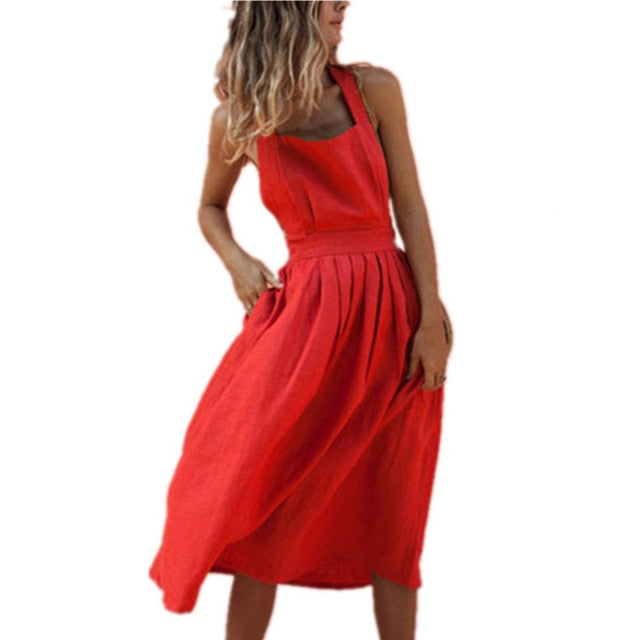 Backless Criss Cross Bow Red Midi Dress Sexy Sleeveless Button Bandage Lace Up Women Summer Dresses Spaghetti Strap Party Dress - Oskalisti
