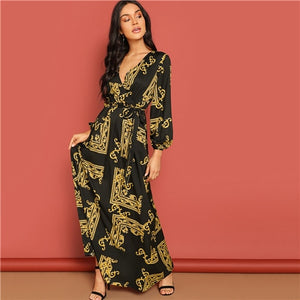 COLROVIE V Neck Scarf Print Belted Wrap Casual Dress Women 2019 Spring Long Sleeve Party Maxi Dress Vacation Ladies Dresses - Oskalisti