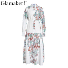 Load image into Gallery viewer, Glamaker White paisley print elegant vintage women dress Sexy boho maxi Summer beach dress holiday split long casual dress festa - Oskalisti