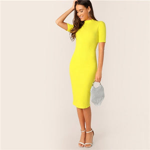 COLROVIE Neon Yellow Mock-Neck Pencil Dress Women 2019 Summer Elegant Short Sleeve Bodycon Slim Spring Office Ladies Midi Dress - Oskalisti