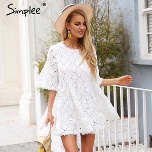 Simplee Flare sleeve cotton white lace dress Women casual ladies dress 2018 Summer high waist short dress autumn vestidos festa - Oskalisti