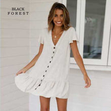 Load image into Gallery viewer, Summer Women Dress 2019 Single-row Button-down Deep V-neck A-line Trend Sexy Party Cotton and hemp Plus Size Dress - Oskalisti
