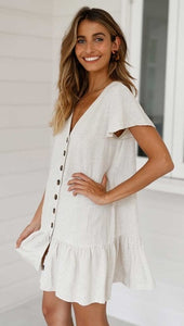 Summer Women Dress 2019 Single-row Button-down Deep V-neck A-line Trend Sexy Party Cotton and hemp Plus Size Dress - Oskalisti