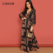 Load image into Gallery viewer, COLROVIE V Neck Scarf Print Belted Wrap Casual Dress Women 2019 Spring Long Sleeve Party Maxi Dress Vacation Ladies Dresses - Oskalisti