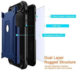 "Rugged Full Body Armor w/ Tempered Glass iPhone XR (6.1"") Case - Ink Blue - MyPhoneCase.com"
