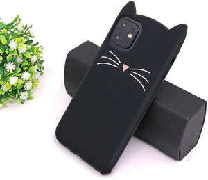 "Soft Silicone 3D Cartoon iPhone 11 (6.1"") Case - Whisker Black Cat"