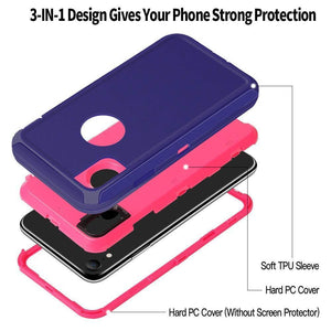 Heavy Duty Shockproof iPhone XR Defender Case - Purple - MyPhoneCase.com