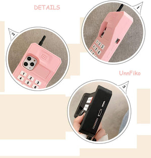 RETRO 3D iPhone 11 PRO Case - Soft Pink Wireless Telephone - MyPhoneCase.com