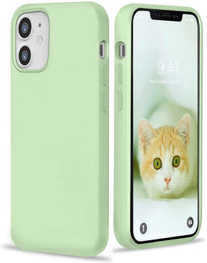"Premium Liquid Silicone Soft Cover iPhone 12 Mini (5.4"") Case - Mint Green"