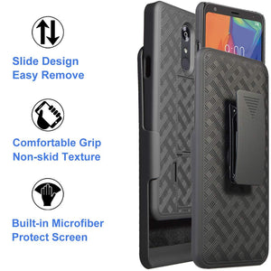 OEM Slim Fitted Shell LG Stylo 5 Case Holster Combo w/ Tempered Glass