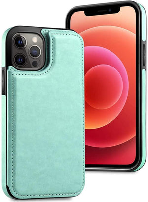 Slim Back Cover Leather Wallet iPhone 12 / 12 Pro Case - Mint Green