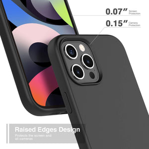 "Premium Liquid Silicone Soft Cover iPhone 12 Mini (5.4"") Case - Black"