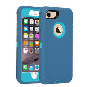 "Heavy Duty Rugged Tough Shell iPhone 8 / 7 (4.7"") Case - Blue - MyPhoneCase.com"
