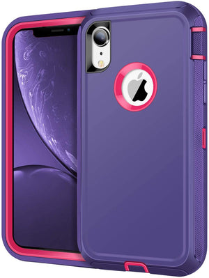 Heavy Duty Total Defender iPhone XR Case Holster - Purple - MyPhoneCase.com