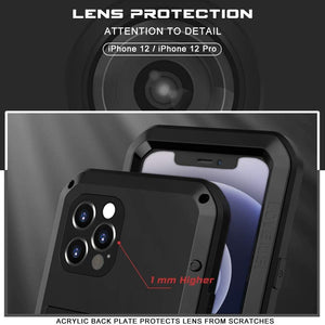 Shockproof Aluminum Gorilla-Glass iPhone 12 / 12 Pro Case - Black