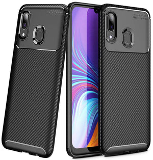 Shockproof Snugly Fit Galaxy A20 (2019) Case - Carbon Black - MyPhoneCase.com