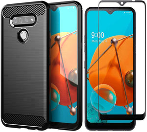 Rugged Shield Slim Armor LG K51 Case w/ Tempered Glass