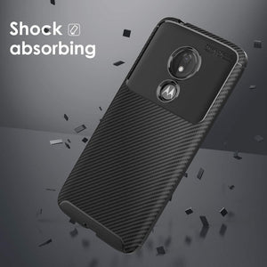Slim Fit Carbon Armor Moto G7 Power / Supra Case - Black