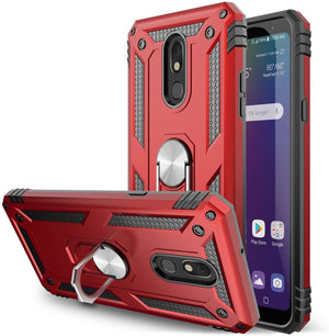 Anti-Drop Ring Stand Armor LG Stylo 5 Case - Red - MyPhoneCase.com