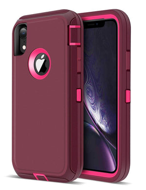 Heavy Duty Shockproof iPhone XR Defender Case - Wine - MyPhoneCase.com