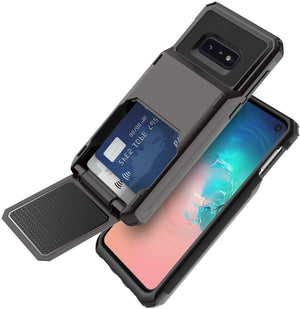 Smart Wallet Card Holder Galaxy S10e Case - Black (Up to 4 Cards)