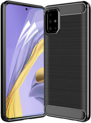 Brushed Carbon Slim Armor Galaxy A51 (Not 5G) Case - Black - MyPhoneCase.com
