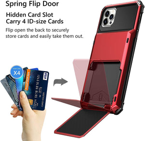 Stash-back 4 Card Slot Wallet iPhone 12 / 12 Pro Case - Red - MyPhoneCase.com