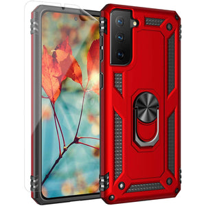 "Military Grade Ring Kickstand Galaxy S21 (6.2"") Case - Red - MyPhoneCase.com"