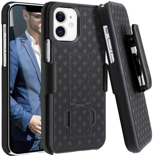 Slim Shell Rugged iPhone 12 / 12 Pro Case Belt Clip Holster OEM - MyPhoneCase.com