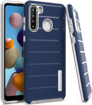 Dual Armor Fusion Shockproof Galaxy A21 Case - Navy Blue - MyPhoneCase.com