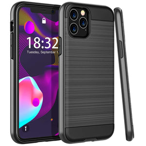 Sleek Shockproof Brushed Aluminum iPhone 11 Pro Max Case - Black - MyPhoneCase.com
