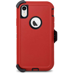Heavy Duty Total Defender iPhone XR Case Holster - Red - MyPhoneCase.com