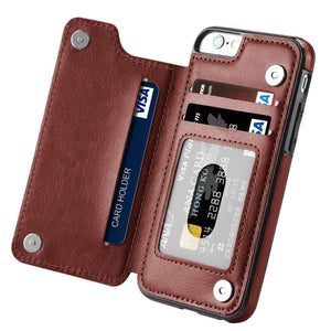 Slim Leather Back Wallet iPhone 6 Plus / 6s Plus Case - Brown - MyPhoneCase.com
