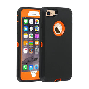 "Heavy Duty Rugged Tough Shell iPhone 8 / 7 (4.7"") Case - Black/Orange - MyPhoneCase.com"