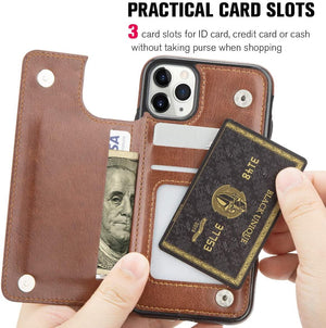 Flip Cover Slim Back Wallet iPhone 11 Pro Max Case - Brown