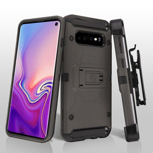Kinetic Hybrid Galaxy S10 Case Holster Combo - Dark Grey/Black - MyPhoneCase.com