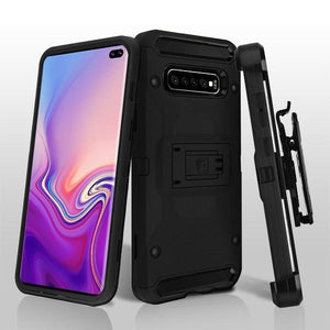Kinetic Hybrid Galaxy S10+ Plus Case Holster - Black/Black - MyPhoneCase.com
