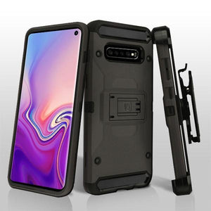 Kinetic Hybrid Galaxy S10+ Plus Case Holster - Gunmetal/Black - MyPhoneCase.com