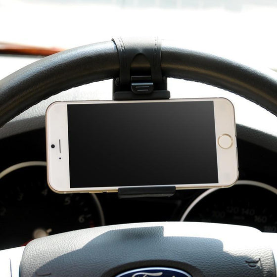 DW Universal Car Mount Holster on Steering Wheel - Black - MyPhoneCase.com - 1