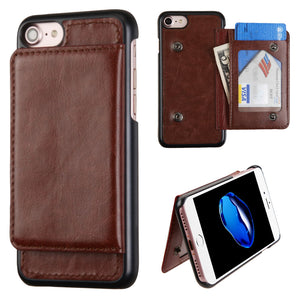 ZV Leather Back Cover Wallet iPhone 7 / iPhone 8 Case - Brown - MyPhoneCase.com