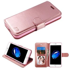 "Flip Stand Leather Wallet iPhone 7 / iPhone 8 (4.7"") Case - Rose Gold - MyPhoneCase.com"
