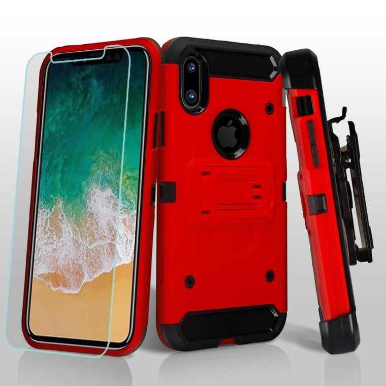 3-in-1 Kinetic Holster iPhone X Case Combo - Red