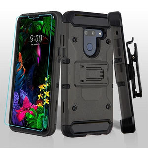 Kinetic Hybrid LG G8 ThinQ Case Holster - Dark Grey - MyPhoneCase.com