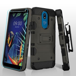 Military Grade Certified Storm Tank LG K40 Case Holster - Dark Grey - MyPhoneCase.com