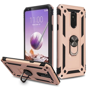 Anti-Drop Ring Stand Armor LG Stylo 5 Case - Rose Gold - MyPhoneCase.com