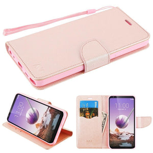 MyJacket Crossgrain Series LG Stylo 5 Wallet Case - Rose Gold - MyPhoneCase.com