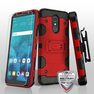 Storm Tank LG Stylo 4 / Stylo 4+ Plus Case Holster Combo - Red/Black - MyPhoneCase.com