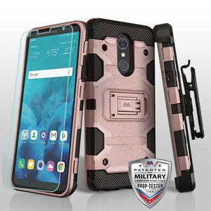Storm Tank LG Stylo 4 / Stylo 4+ Plus Case Holster Combo - Rose Gold/Black - MyPhoneCase.com